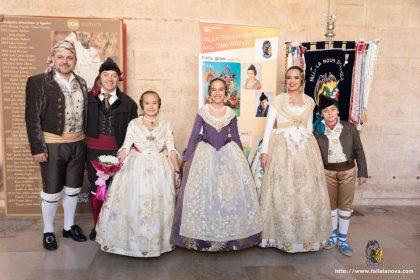 Falleras Mayores de Valencia 2019 junto a representantes de las Fallas en la presentación de Bocetos que la Agrupación Sector Rascanya celebró en el Monasterio de San Miguel de los Reyes